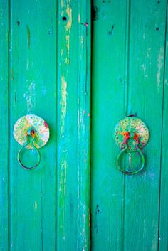 vintage, turquoise, doors, chipped paint, home, wood, lime green, handles