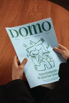 Domo Neighbourhood Apartments - Brand Identity on Behance Web Design, Book Design, Graphic Design, Design Layouts, Editorial Layout, Editorial Design, Visual Identity, Brand Identity, Newspaper Design