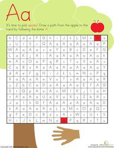 Kindergarten Mazes The Alphabet Worksheets: Letter Maze: A