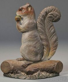 Painted Cast Iron Squirrel Doorstop, attributed to Bradley & Hubbard, Connecticut, late 19th - early 20th Century.