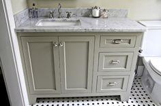 Vanity color, Octagon and dot tile, great shiny nickel or chrome hardware. http://urbangraceinteriorsinc.com/