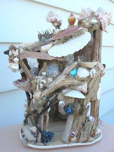 Mermaid beach dollhouse or decoration  shells sea fans  blue glass ball. $275.00, via Etsy.