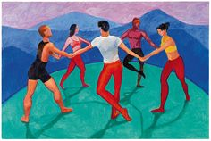 Turn up the music and move your feet. The Dancers by #DavidHockney featured in the #Hockney #SUMO #ABiggerBook. tsc.hn/biggerbook