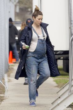 Pin for Later: Jessica Biel Can't Hide Her Baby Bump in Overalls