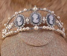 Imitation of Modern Faux Pearl/Gem/Cameo Tiara made for waxwork of Laetitia Bonaparte. [Ebay: promdresssales] https://uk.pinterest.com/pin/174303448048303446/