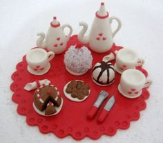 Hobbies And Crafts, Diy And Crafts, Biscuits, Clay Figurine, Teapots And Cups, Pasta Flexible, All Craft, Clay Crafts, Tea Set