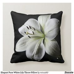 Elegant Pure White Lily Throw Pillow
