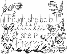 Fierce Little Girl Quote Intricate Doodle by thesweetandthesour, $30.00