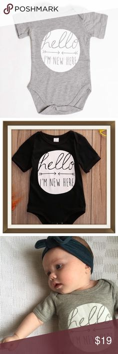 Hello, I'm New Here Onesie Brand new! 100% Cotton baby onesie. Fits 3-6 months. Awesome baby shower gift for a boy or girl. If you like the look of it with the Black headband order Mommy & Me headbands and receive 15% off entire order! Ships same day if ordered by 10:00 CST. One Pieces Bodysuits