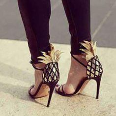 Gold and Black Pineapple Heels Shoes | Strappy Sandals | WTF Blog – WTF Embroidery