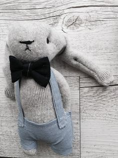 Grey wollen bunny rabbit softie snuggly sock bunny by ChezPrudence