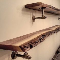 Image result for natural edge wall mounted wood shelving