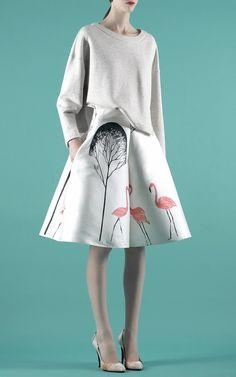 Flamingo Tree Patterned Skort by Vika Gazinskaya for Preorder on Moda Operandi