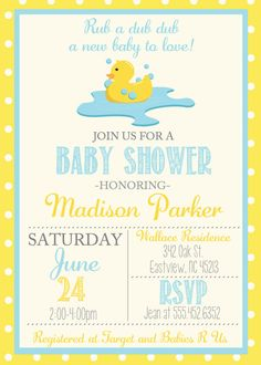 Vintage Rubber Duck Baby Shower Invite, Invitation With Rubber Duck, Simple  Casual, Digital File, Baby Shower