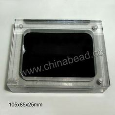 Acrylic magnetic cabochon display, Clear white and black color, Rectangle, Approx 105x85x25mm, 10 pieces per bag, Sold by bags