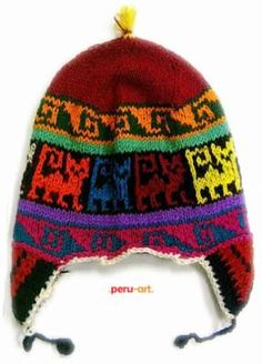 Para Hombre PERU//Peruano//INCA estilo Fairisle Gorro-Azul y Negro Diamante
