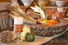 fall in love with your fall tabletops, seasonal holiday decor, I love to use Indian corn pumpkins and gourds in my Fall Decor Side Table Decor, Dining Room Table, Table Decorations, Fall Kitchen Decor, Fall Table, Fall Halloween, Tablescapes, Falling In Love, Make It Yourself