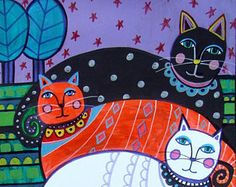 CAT Folk art Poster Print of Painting by by HeatherGallerArt