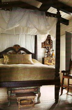 Spanish colonial canopy bed with step ups
