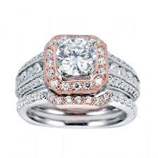 Rose Gold and White Gold Combination, Round Brilliant Center Stone, LOTS of Pave