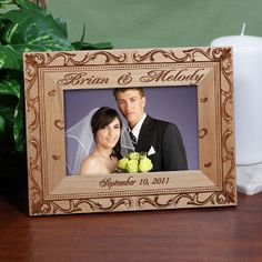 Personalized Wedding Couple Rustic Picture Frame < + more personalized frame #gifts
