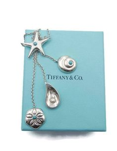 a6df0c002 Reserved Authentic Tiffany & Co Starfish Triple Dangle Drop Seashell  Necklace - Sterling Silver, Blue Turquoise and Pearl - Rare # 4453