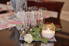 Hääkattauskokeilu Celebrations viinilasit, kuohuviinilasit ja Dunin Ellie kynttilälyhdyt via Huntua ja hattaraa: Kattauskokeiluja - osa 2