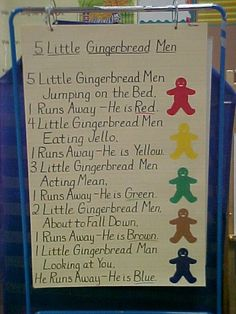 Cute little rhyme about colour, easy to substitute the gingerbread men for something to fit your theme...