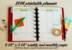 A Well-Feathered Nest: The 2014 Printable Planner Comes in a New Size!