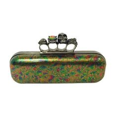 Pre-Owned Alexander Mcqueen Oil Slick Knuckle Duster Box Clutch ($1,895) ❤ liked on Polyvore featuring bags, handbags, clutches, green, box clutch, leather purses, embossed leather handbags, skull clutches and hard clutch