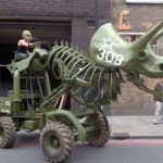 A 3-Ton Army Green Hydraulic Triceratops Sculpture by Wreckage