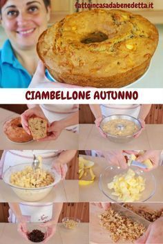 Ciambellone autunno con, tutto il sapore e il profumo dell'autunno in un ciambellone guarnito con mele, noci, uvetta e rum. Sweet Desserts, Sweet Recipes, Cake Recipes, Plum Cake, Cake & Co, Italian Cookies, Sweet Treats, Food And Drink, Cooking Recipes