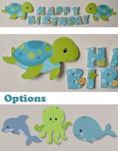 Under the Sea Theme Birthday Banner, Baby Shower Party Decoration - Turtle Whale Octopus OR Dolphin - CUSTOM Name/Age (20 letters). $20.00, via Etsy.