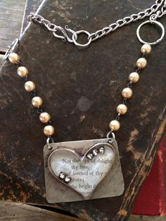Soldered Copper and Nickel Silver Bezel Heart Necklace with Vintage Rhinestones
