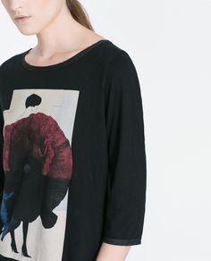 CAMISETA ALGODÓN ESTAMPADA - Camisetas - MUJER | ZARA España