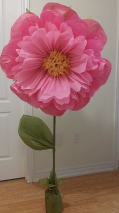 Free standing tissue paper flower at 20 inch in diameter, adjustable height from 3 feet to 5 feet tall