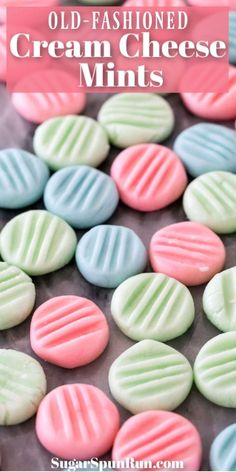 An old-fashioned recipe for CREAM CHEESE MINTS! These super easy candies can be whipped up quickly! They are well-known at baby showers and bridal showers and this recipe has instructions for making them into adorable shapes in candy molds! #creamcheesemints #bridalshower #babyshower #sugarspunrun