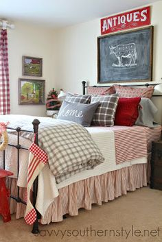 guest room farmhouse style red gray flannel buffalo checks red ticking Pottery Barn bedding LL Bean bedding H & M pillows Farmhouse Style Bedrooms, Farmhouse Master Bedroom, Home Bedroom, Bedroom Ideas, Modern Farmhouse, Country Bedrooms, Farmhouse Decor, Bedroom Designs, Bedroom Red
