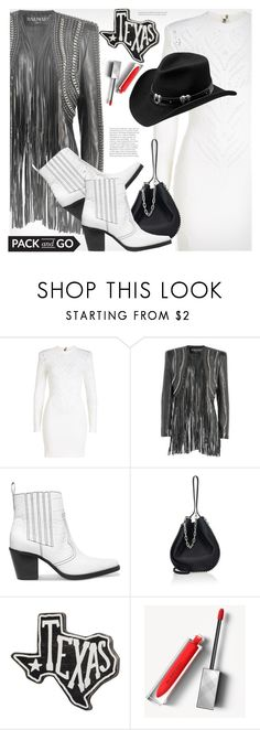 """""""Pack and Go: SXSW"""" by svijetlana ❤ liked on Polyvore featuring Balmain, Ganni, Alexander Wang, Primitives By Kathy, Burberry, Master Hatters of Texas, festivalstyle, Packandgo and SXSW"""