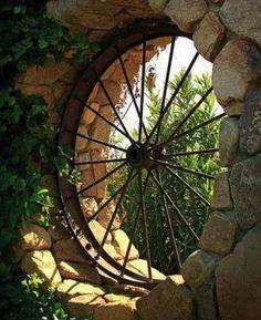 SO NEAT! Repurosed wagon wheel as window feature in garden SO NEAT! Repurosed wagon wheel as window Yard Art, Dream Garden, Home And Garden, Big Garden, Garden Pond, Easy Garden, Garden Planters, Water Garden, Pergola Diy