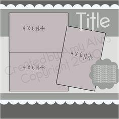 Scrapbook page layout Scrapbook Patterns, Scrapbook Layout Sketches, 12x12 Scrapbook, Scrapbook Templates, Travel Scrapbook, Scrapbook Paper Crafts, Scrapbooking Layouts, Wedding Scrapbook, Photo Sketch