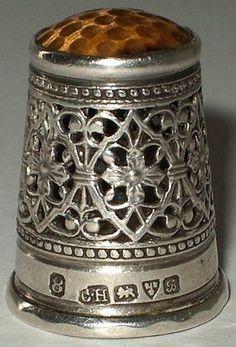 Rare-Charles-Horner-Sterling-Silver-Filigree-Stone-Top-Thimble-Chester-1902 / 29 Jun, 2014 / £360.00