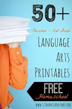50+ FREE Language Arts Printables for Preschool, Kindergarten, 1st grade, 2nd grade, and 3rd grade homeschoolers
