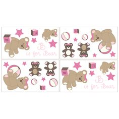 Sweet JoJo Designs Pink and Chocolate Teddy Bear Wall Decal Stickers