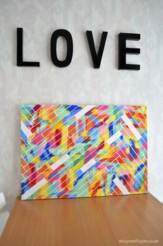 diy canvas art - ateaspoonofhappiness.com  When I saw this in the thumbnail I thought it was Popsicle sticks... This might be a cool one to do with the kids that way!