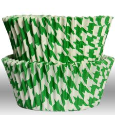 Houndstooth Green Greaseproof Cupcake Liners