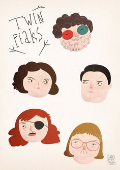 Twin Peaks character art print. David Lynch. The Doc, Audrey, Agent Cooper, Nadine and The Log Lady by Isabel Reyes Feeney $17.87 illustration. fan art.