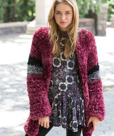 Fab Fur Jacket Free Knitting Pattern in Red Heart Yarns