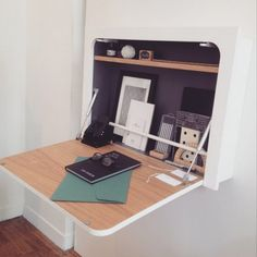 Minimalist White Floating Murphy Desk With Curved Angles And A Plywood Desktop Folding Furniture, Folding Desk, Multifunctional Furniture, Home Decor Furniture, Furniture Design, Kitchen Furniture, Fold Away Desk, Murphy Desk, Drawing Desk