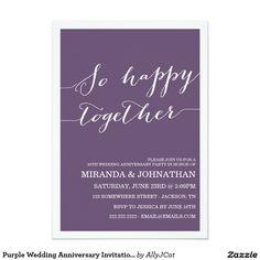 Purple Wedding Anniversary Invitations